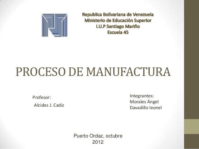 PROCESO DE MANUFACTURA  Profesor:                                  Integrantes:                                           ...
