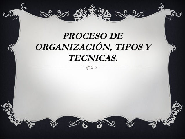 PROCESO DEORGANIZACIÓN, TIPOS Y     TECNICAS.