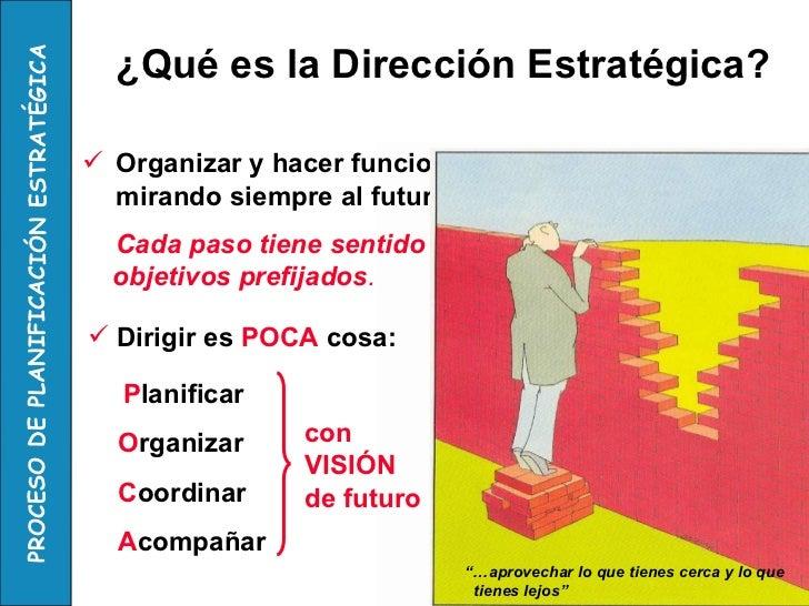 <ul><li>Organizar y hacer funcionar la organización mirando siempre al futuro </li></ul>Cada paso tiene sentido en función...
