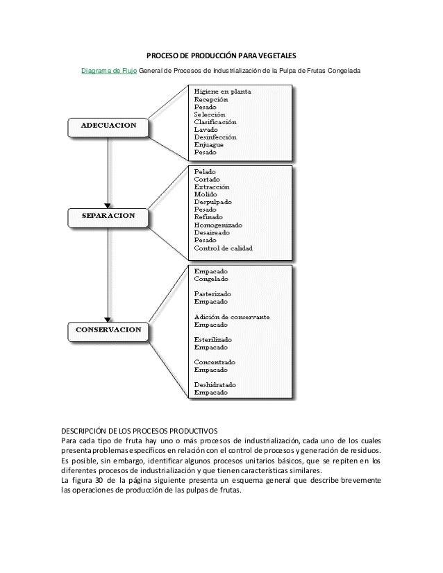 Proceso de produccin para vegetales proceso de produccin para vegetales diagrama de flujo general de procesos de industrializacin de la pulpa ccuart Image collections