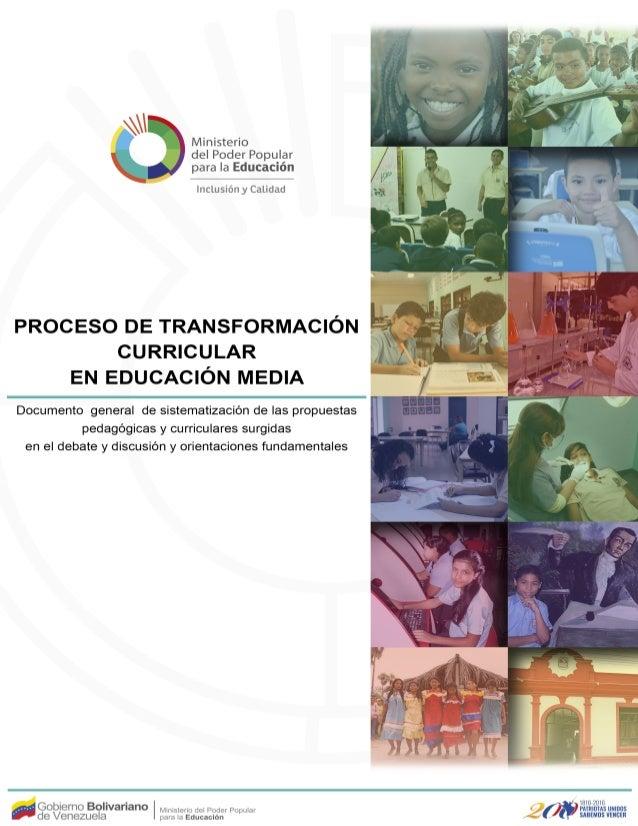 Esta propuesta comenzó a desarrollarse en los liceos bolivarianos de turno integral que se identifican en la Resolución co...