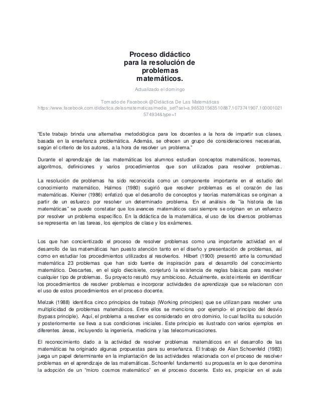 Proceso didáctico para la resolución de problemas matemáticos. Actualizado el domingo Tomado de Facebook @Didáctica De Las...