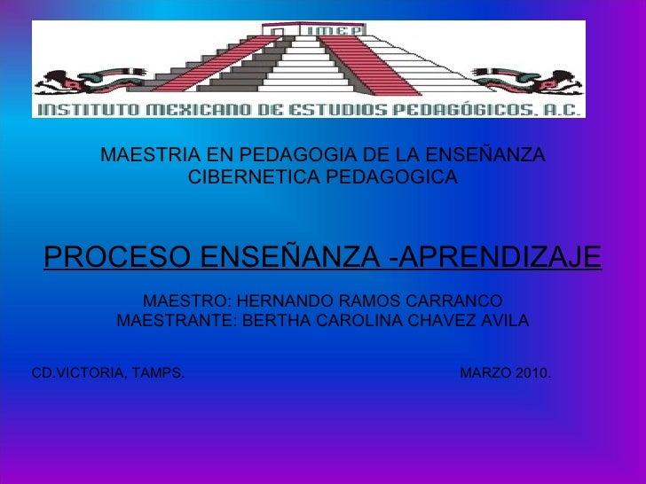 MAESTRIA EN PEDAGOGIA DE LA ENSEÑANZA CIBERNETICA PEDAGOGICA PROCESO ENSEÑANZA -APRENDIZAJE MAESTRO: HERNANDO RAMOS CARRAN...