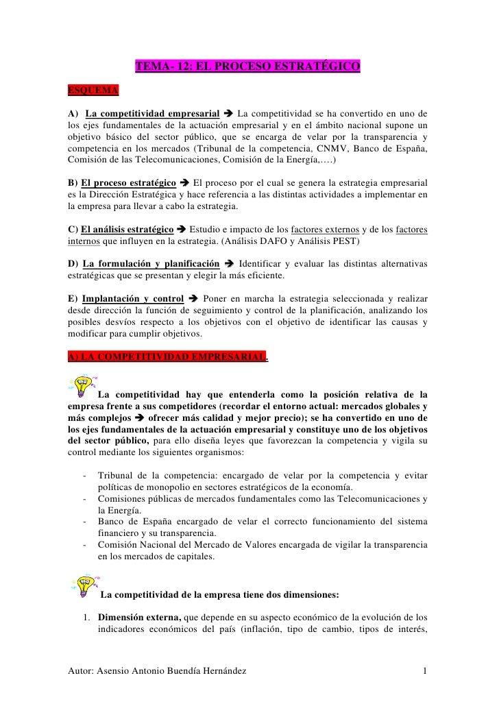 TEMA- 12: EL PROCESO ESTRATÉGICO ESQUEMA  A) La competitividad empresarial        La competitividad se ha convertido en un...