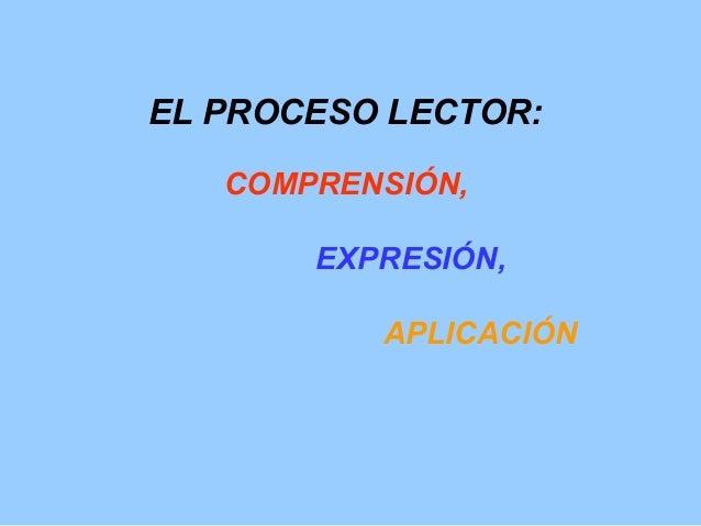 EL PROCESO LECTOR: COMPRENSIÓN, EXPRESIÓN, APLICACIÓN