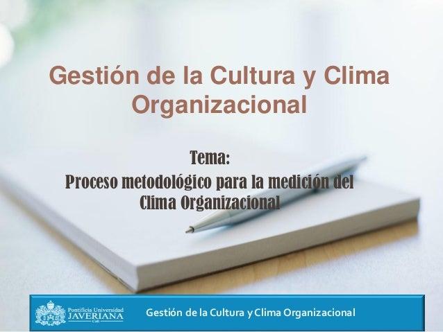 Gestión de la Cultura y Clima Organizacional Gestión de la Cultura y Clima Organizacional Tema: Proceso metodológico para ...