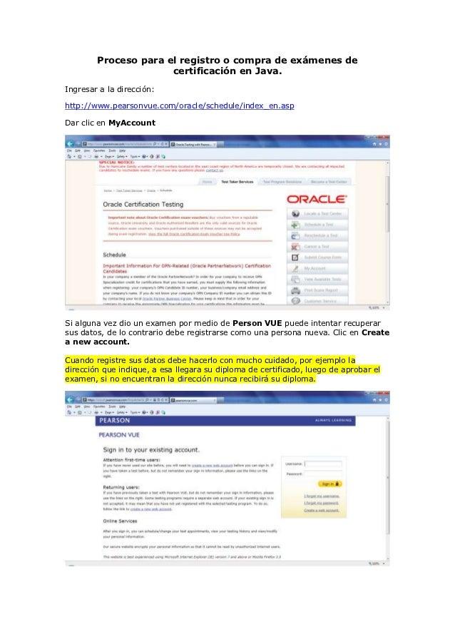 Proceso para el registro o compra de exámenes de                      certificación en Java.Ingresar a la dirección:http:/...