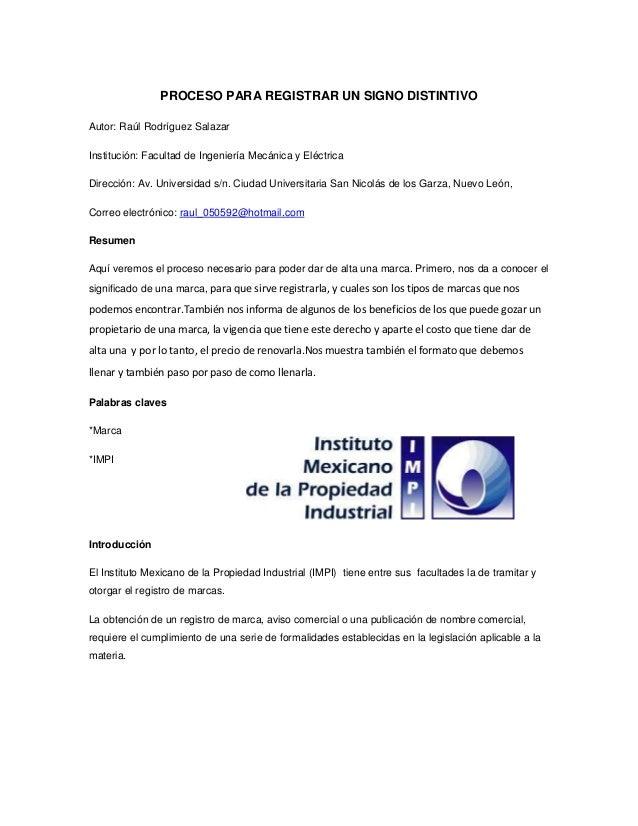 PROCESO PARA REGISTRAR UN SIGNO DISTINTIVOAutor: Raúl Rodríguez SalazarInstitución: Facultad de Ingeniería Mecánica y Eléc...