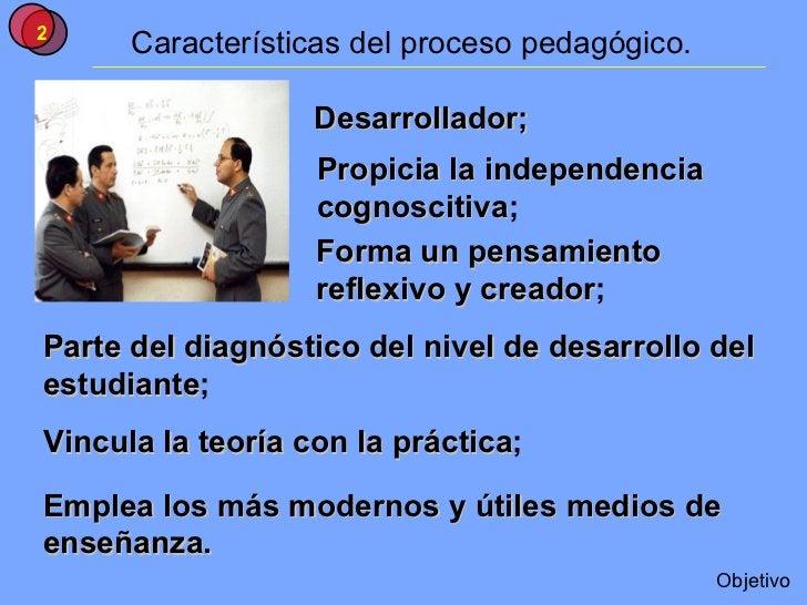 Características del proceso pedagógico. Desarrollador; Propicia la independencia  cognoscitiva ; Forma un pensamiento  ref...