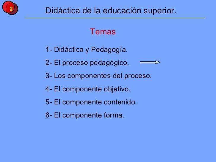 Temas 1- Didáctica y Pedagogía. 2- El proceso pedagógico. 3- Los componentes del proceso. 4- El componente objetivo. 5- El...