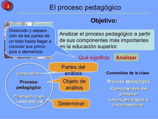 2                        El proceso pedagógico                                         Objetivo:Distinción y separa-ción d...