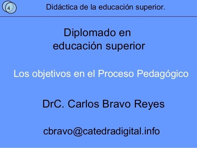 Los objetivos en el Proceso Pedagógico 4 Didáctica de la educación superior. Diplomado en educación superior DrC. Carlos B...
