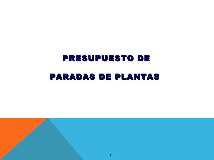 PRESUPUESTO DE PARADAS DE PLANTAS