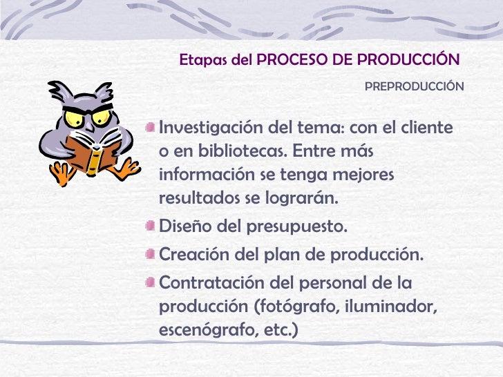 Etapas del PROCESO DE PRODUCCIÓN                          PREPRODUCCIÓNInvestigación del tema: con el clienteo en bibliote...