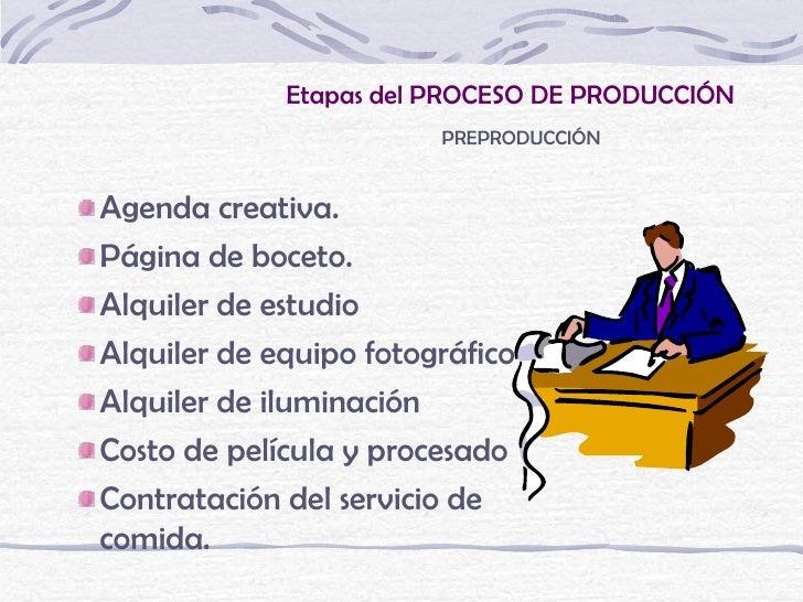 Etapas del PROCESO DE PRODUCCIÓN                        PREPRODUCCIÓNAgenda creativa.Página de boceto.Alquiler de estudioA...