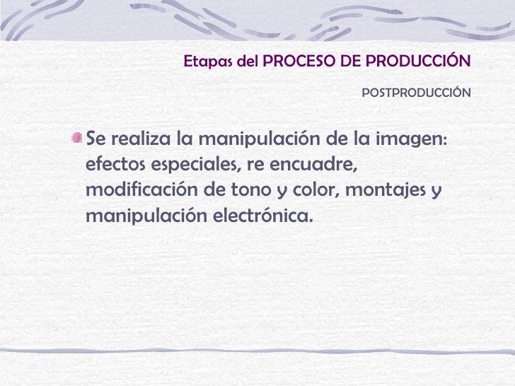 Etapas del PROCESO DE PRODUCCIÓN                              POSTPRODUCCIÓNSe realiza la manipulación de la imagen:efecto...