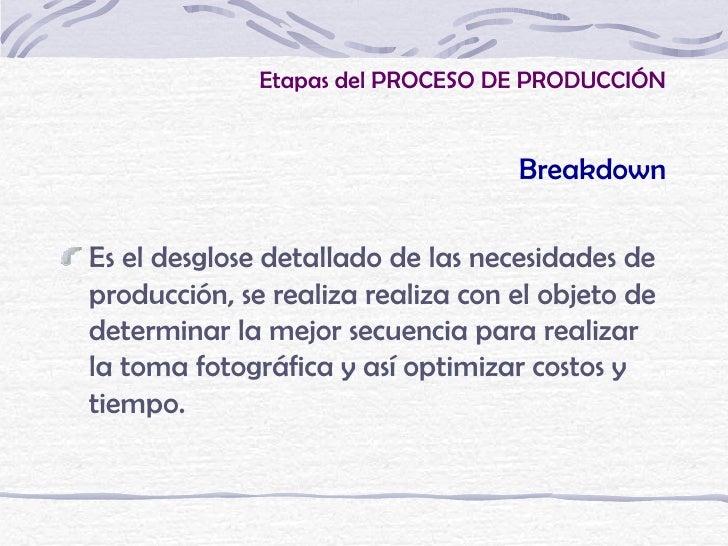 Etapas del PROCESO DE PRODUCCIÓN                                   BreakdownEs el desglose detallado de las necesidades de...