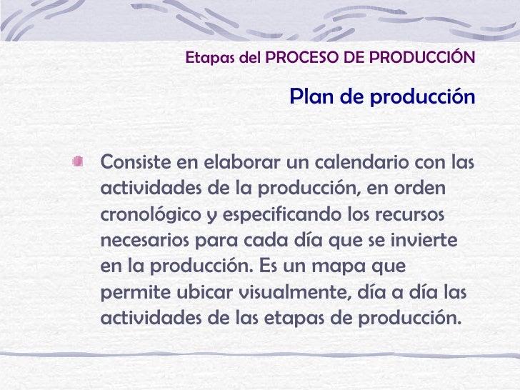 Etapas del PROCESO DE PRODUCCIÓN                     Plan de producciónConsiste en elaborar un calendario con lasactividad...