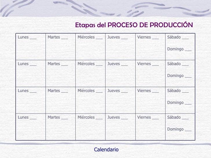 Etapas del PROCESO DE PRODUCCIÓNLunes ___   Martes ___   Miércoles ___   Jueves ___   Viernes ___   Sábado ___            ...