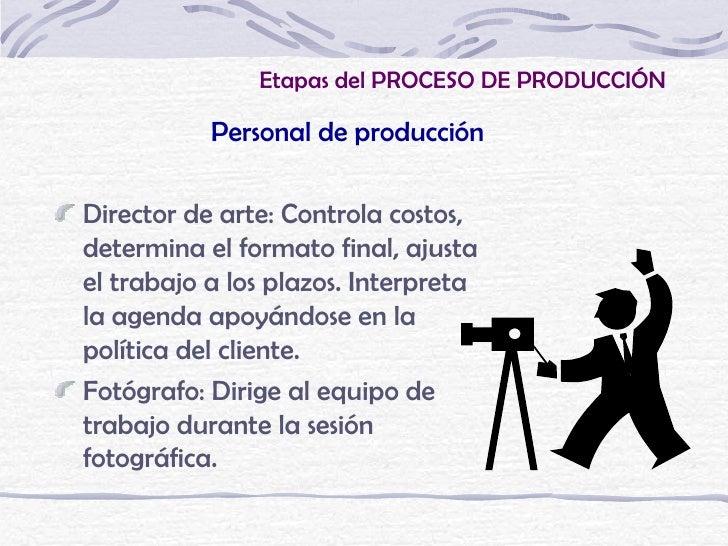 Etapas del PROCESO DE PRODUCCIÓN           Personal de producciónDirector de arte: Controla costos,determina el formato fi...
