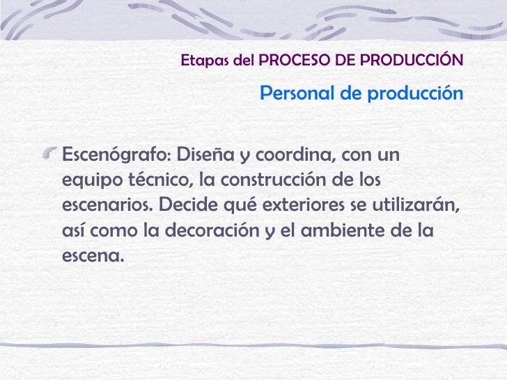 Etapas del PROCESO DE PRODUCCIÓN                           Personal de producción    Escenógrafo: Diseña y coordina, con u...
