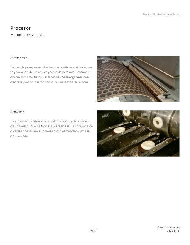 pág 6/8 Proceso Productivo Alimentos Camilo Escobar 28/04/16 Procesos Métodos de Moldaje Extrusión Estampado La mezcla pas...