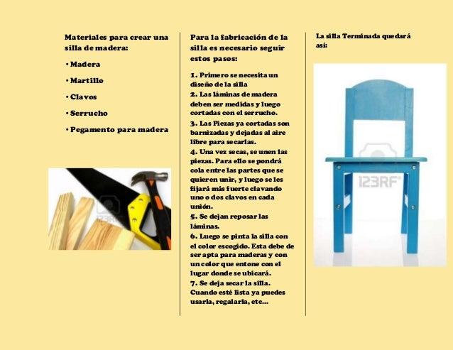Proceso productivo de la silla - Materiales para tapizar una silla ...