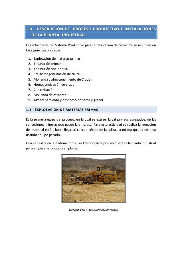 1.0 DESCRIPCIÓN DE PROCESO PRODUCTIVO E INSTALACIONES DE LA PLANTA INDUSTRIAL. Las actividades del Sistema Productivo para...