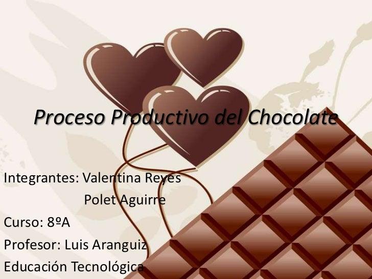 Proceso Productivo del ChocolateIntegrantes: Valentina Reyes             Polet AguirreCurso: 8ºAProfesor: Luis AranguizEdu...