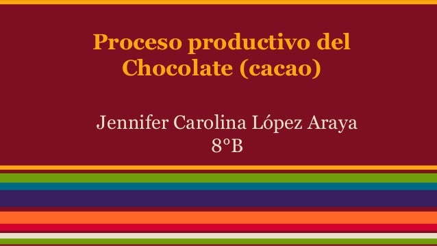 Proceso productivo del Chocolate (cacao) Jennifer Carolina López Araya 8°B