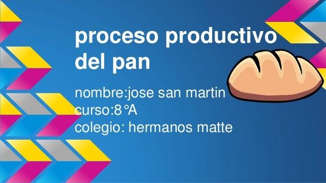 proceso productivo del pan nombre:jose san martin curso:8°A colegio: hermanos matte