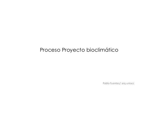Proceso Proyecto bioclimático Pablo fuentes/ arq uniacc