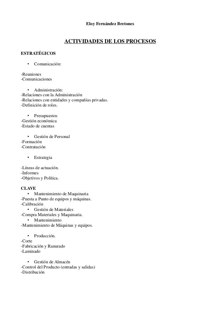 Eloy Fernández Bretones                         ACTIVIDADES DE LOS PROCESOSESTRATÉGICOS   •   Comunicación:-Reuniones-Comu...