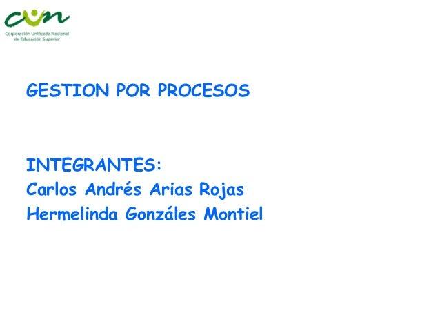 GESTION POR PROCESOS  INTEGRANTES: Carlos Andrés Arias Rojas Hermelinda Gonzáles Montiel