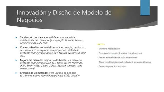Innovación y Diseño de Modelo de Negocios  Satisfacción del mercado: satisfacer una necesidad desatendida del mercado (po...