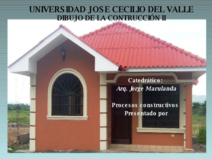 UNIVERSIDAD JOSE CECILIO DEL VALLE DIBUJO DE LA CONTRUCCIÓN II <ul><li>Catedrático:  </li></ul><ul><li>Arq. Jorge Maruland...