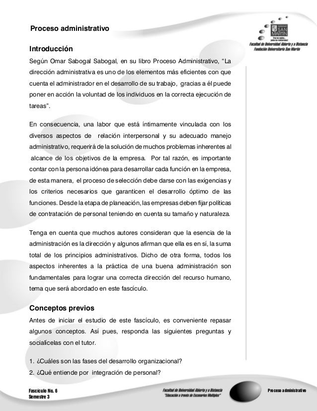 Proceso administrativo                                                        1IntroducciónSegún Omar Sabogal Sabogal, en ...