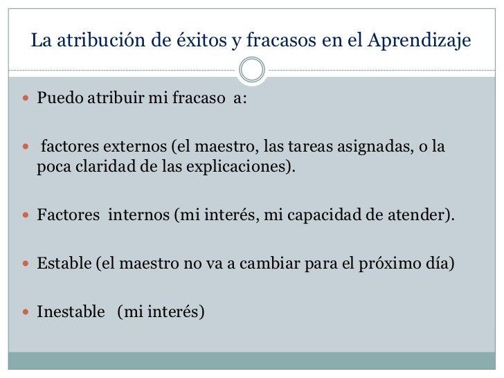 La atribución de éxitos y fracasos en el Aprendizaje<br />Puedo atribuir mi fracaso  a:<br /> factores externos (el maestr...