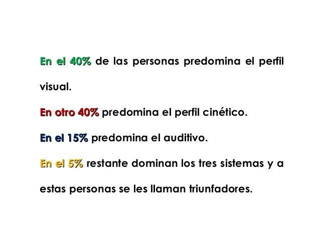 En el 40% de las personas predomina el perfilvisual.En otro 40% predomina el perfil cinético.En el 15% predomina el auditi...