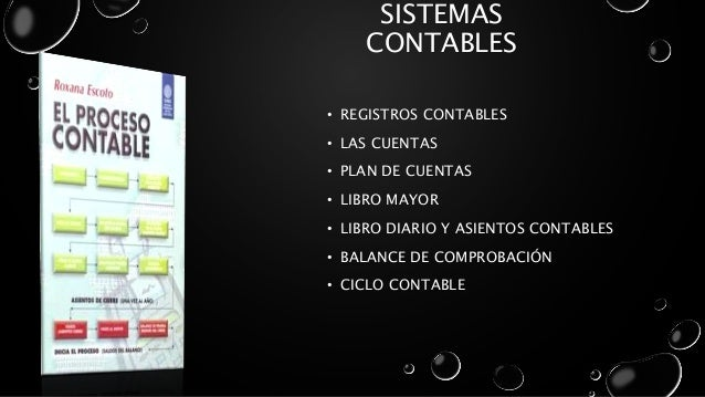 SISTEMAS CONTABLES • REGISTROS CONTABLES • LAS CUENTAS • PLAN DE CUENTAS • LIBRO MAYOR • LIBRO DIARIO Y ASIENTOS CONTABLES...
