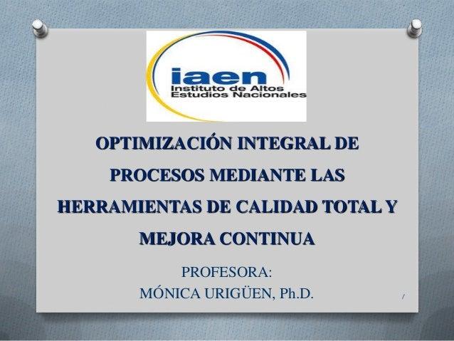 OPTIMIZACIÓN INTEGRAL DE  PROCESOS MEDIANTE LAS HERRAMIENTAS DE CALIDAD TOTAL Y MEJORA CONTINUA PROFESORA: MÓNICA URIGÜEN,...