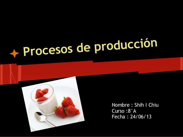 Procesos de producción Nombre : Shih I Chiu Curso :8°A Fecha : 24/06/13