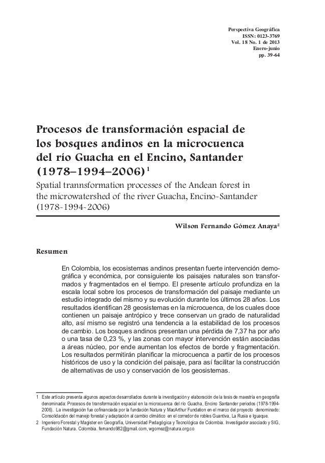 Perspectiva Geográfica ISSN: 0123-3769 Vol. 18 No. 1 de 2013 Enero-junio pp. 39-64  Procesos de transformación espacial de...