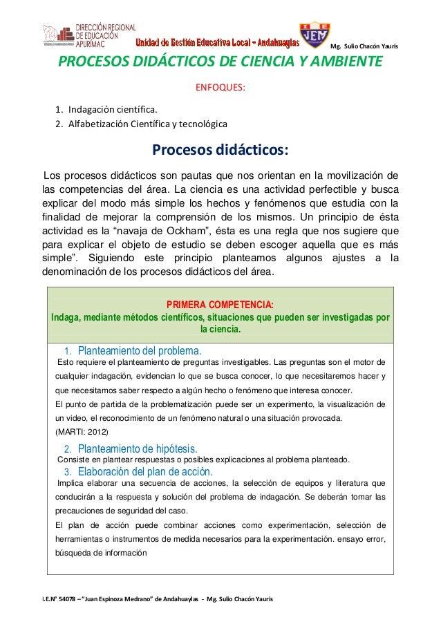 "Mg. Sulio Chacón Yauris I.E.N° 54078 – ""Juan Espinoza Medrano"" de Andahuaylas - Mg. Sulio Chacón Yauris PROCESOS DIDÁCTICO..."