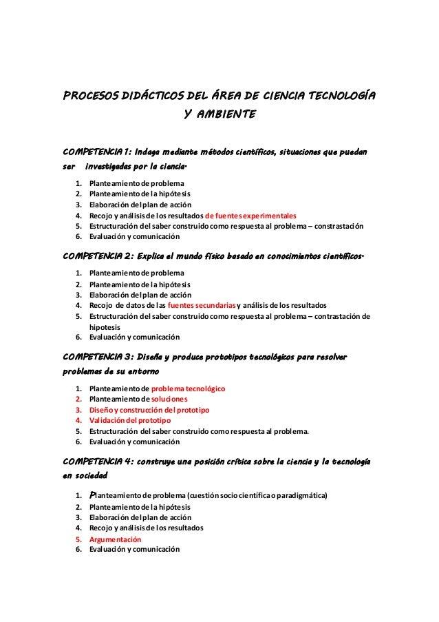 PROCESOS DIDÁCTICOS DEL ÁREA DE CIENCIA TECNOLOGÍA Y AMBIENTE COMPETENCIA 1: Indaga mediante métodos científicos, situacio...