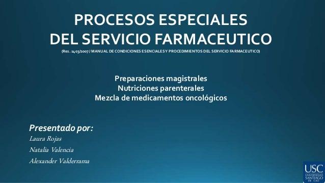 PROCESOS ESPECIALES  DEL SERVICIO FARMACEUTICO  (Res. 1403/2007 / MANUAL DE CONDICIONES ESENCIALES Y PROCEDIMIENTOS DEL SE...