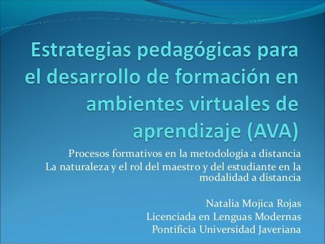 Procesos formativos en la metodología a distancia La naturaleza y el rol del maestro y del estudiante en la modalidad a di...