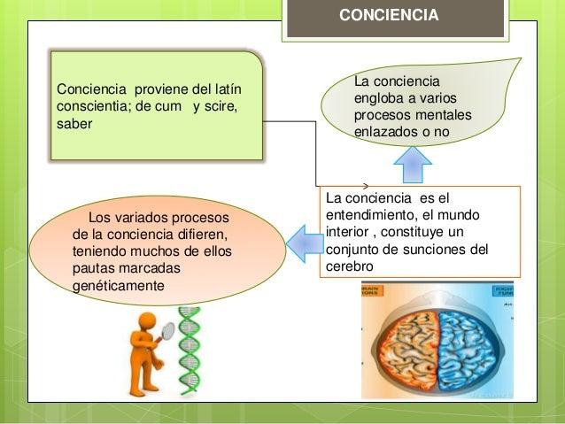 CONCIENCIA Conciencia proviene del latín conscientia; de cum y scire, saber La conciencia es el entendimiento, el mundo in...