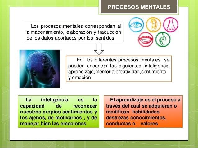 PROCESOS MENTALES Los procesos mentales corresponden al almacenamiento, elaboración y traducción de los datos aportados po...