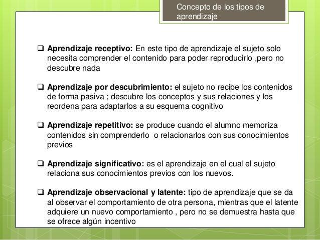 Concepto de los tipos de aprendizaje  Aprendizaje receptivo: En este tipo de aprendizaje el sujeto solo necesita comprend...